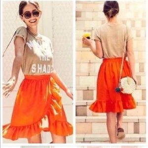 J CREW - NWT Linen Tulip Hem Ruffle Skirt
